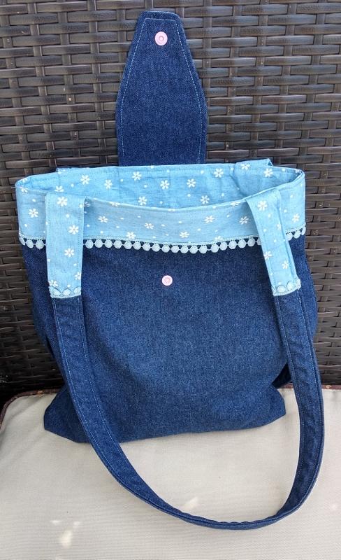Petit tote bag en jean pour mamie