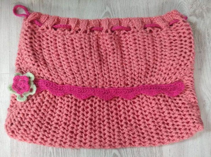 Sac à tricot,  face bordure à plat
